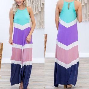 ELLE Colorblock Maxi Dress S-XL